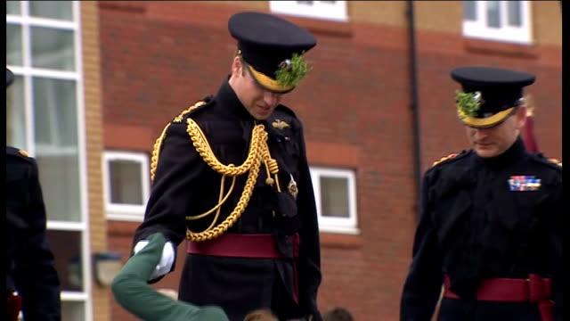vidéos et rushes de duke and duchess of cambridge attend military parade to mark st patrick's day england hampshire aldershot mons barracks ext prince william duke of... - mons barracks