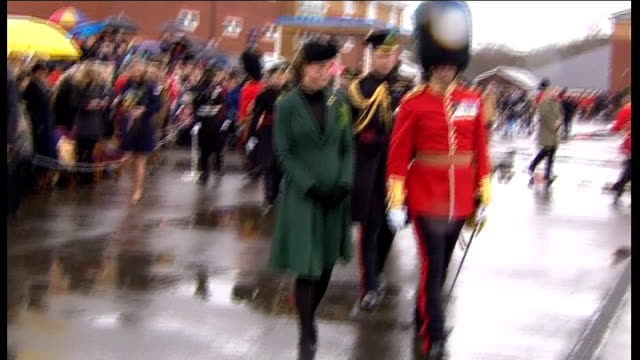 duke and duchess of cambridge attend military parade to mark st patrick's day prince william talking to soldiers after ceremony / kate presented with... - st patrick's day stock videos & royalty-free footage