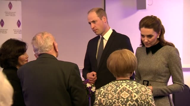 duke and duchess of cambridge attend uk holocaust memorial day commemorative ceremony and chat with guests - monument stock videos & royalty-free footage