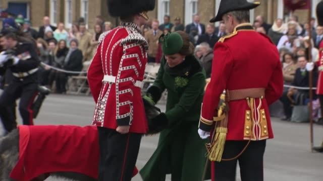 Duke and Duchess of Cambridge celebrate St Patrick's Day at Irish Guards parade ENGLAND London Hounslow Cavalry Barracks EXT **Music heard SOT**...