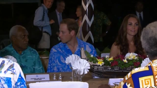 duke and duchess of cambridge chat during dinner in the solomon islands as part of their diamond jubilee tour of south-east asia and the south pacific - royal tour stock videos & royalty-free footage