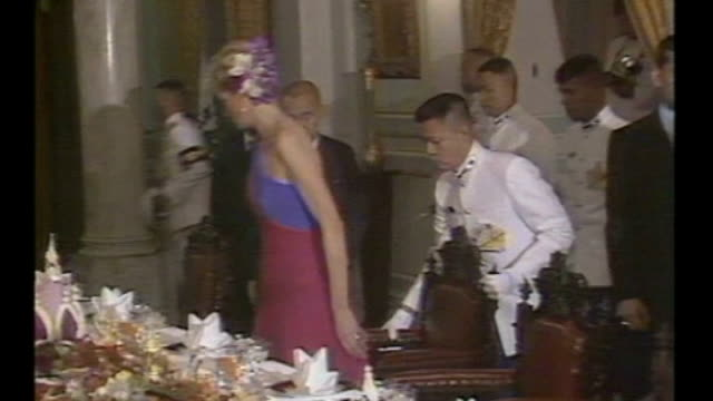 Duke and Duchess of Cambridge Far East and South Pacific tour Day 1 Singapore LIB February 1988 Bangkok PHOTOGRAPHY*** Princess Diana at banquet with...
