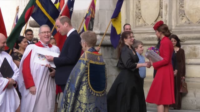 Duke and Duchess of Cambridge greeting guests outside Westminster Abbey after the Commonwealth Day Service