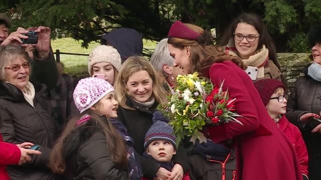 Duke and Duchess of Cambridge greeting the public at Sandringham Estate on 25 December 2018 in Sandringham United Kingdom