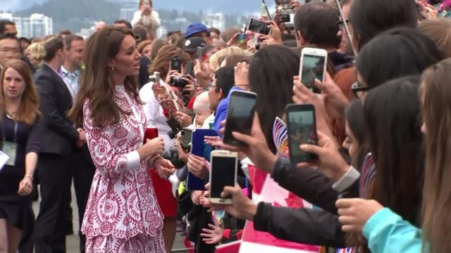 duke and duchess of cambridge highlight the plight of syrian refugees canada british columbia vancouver ext catherine duchess of cambridge greeting... - vancouver canada stock videos and b-roll footage