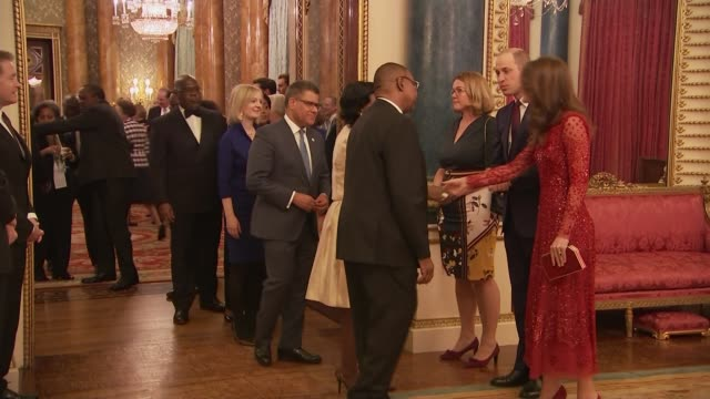 duke and duchess of cambridge host reception for uk-africa investment summit; england: london: buckingham palace: int **some flash photography**... - sophie rhys jones, countess of wessex stock videos & royalty-free footage