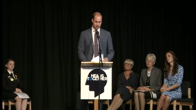 Duke and Duchess of Cambridge in Harlow Jonathan DouglasHughes alogn corridor followed by Catherine and William into assembly hall / William and...