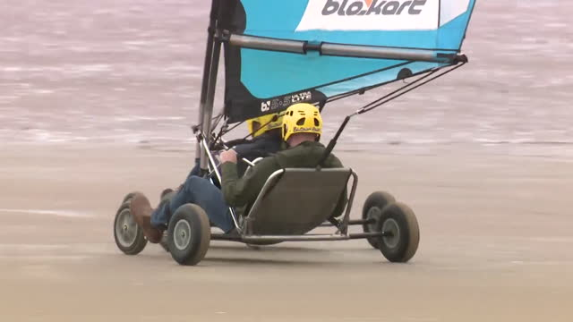 duke and duchess of cambridge land yachting on visit to beach in st andrews, scotland - leisure activity stock videos & royalty-free footage