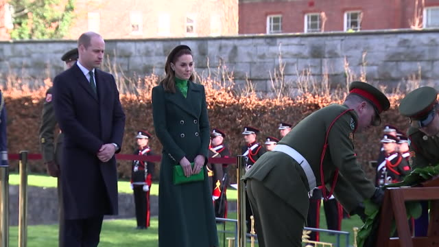 duke and duchess of cambridge lay wreath at dublin's garden of remembrance - reclining stock videos & royalty-free footage