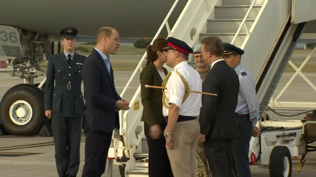 Duke and Duchess of Cambridge make Christmas visit to British troops Arrival CYPRUS RAF Akrotiri EXT Prince William Duke of Cambridge and Catherine...