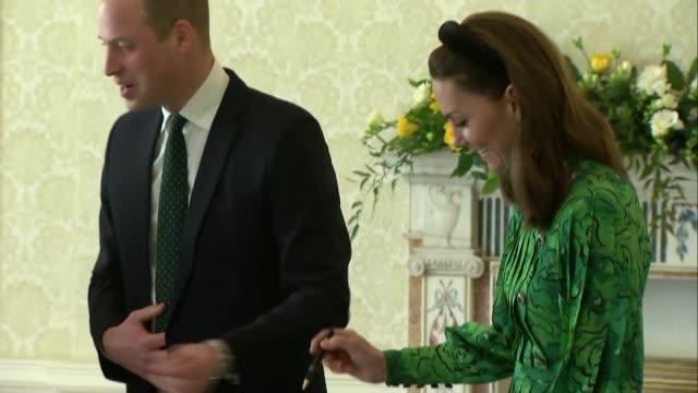 duke and duchess of cambridge meet irish president michael d higgins; republic of ireland: dublin: aras an uachtarain: int **beware flash... - dublin republic of ireland stock videos & royalty-free footage