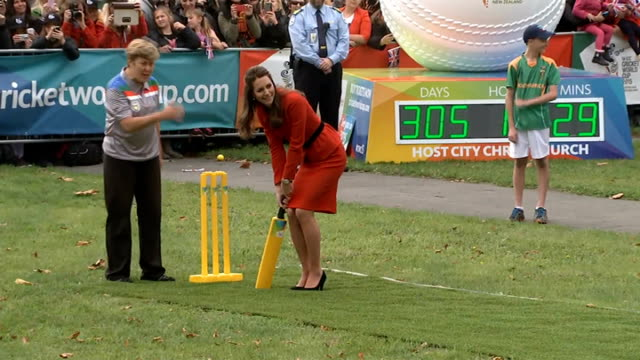 duke and duchess of cambridge official visit cricket match new zealand christchurch ext catherine duchess of cambridge at stumps on cricket pitch... - high heels stock videos & royalty-free footage