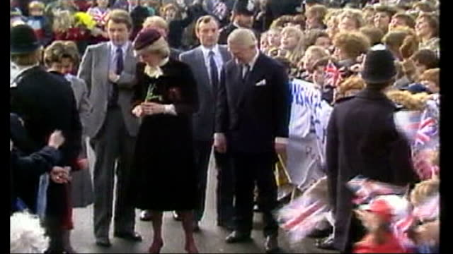 Duke and Duchess of Cambridge open cancer unit at the Royal Marsden Hospital 2121984 / 124856 Diana Princess of Wales presented with flowers as...