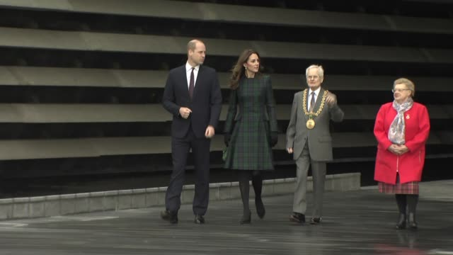 duke and duchess of cambridge open victoria & albert museum in dundee; scotland: dundee: victoria & albert museum: ext prince william, duke of... - dundee scotland stock videos & royalty-free footage