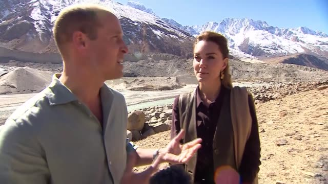 duke and duchess of cambridge pakistan tour: william and kate interview; pakistan: hindu kush mountains: ext prince william, duke of cambridge and... - pakistan stock videos & royalty-free footage