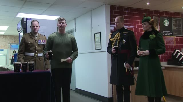 Duke and Duchess of Cambridge present shamrocks to Irish Guards on St Patrick's Day ENGLAND London Hounslow Cavalry Barracks Irish Guards soldiers in...