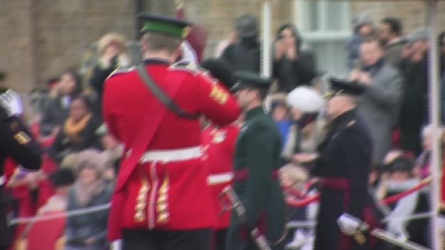 Duke and Duchess of Cambridge present shamrocks to Irish Guards on St Patrick's Day ENGLAND London Hounslow Cavalry Barracks EXT **Music heard...