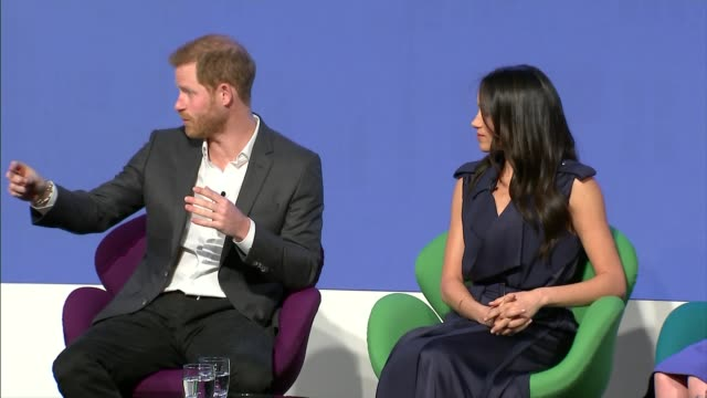 duke and duchess of cambridge prince harry and meghan markle royal foundation forum tina daheley asking question sot re how harry can make the most... - angesicht zu angesicht stock-videos und b-roll-filmmaterial
