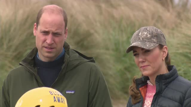 duke and duchess of cambridge return to st andrews; scotland: fife: st andrews: west sand beach: ext various of prince william, duke of cambridge and... - scotland stock videos & royalty-free footage