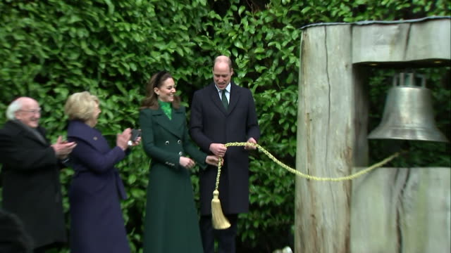 duke and duchess of cambridge ring ceremonial bell with irish president michael d higgins and his wife sabina coyne at his official residence in... - formal garden stock videos & royalty-free footage