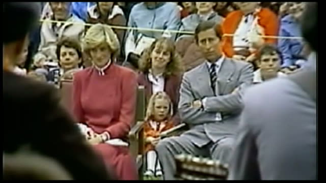 duke and duchess of cambridge royal tour of canada buildup tx june 1983 prince charles and princess diana watching band perform on stage during first... - 1983 stock videos & royalty-free footage