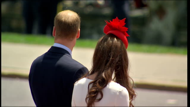 duke and duchess of cambridge royal tour of canada: canada day ceremony; more of kate and william / back views kate and william as pipers along past... - canada stock videos & royalty-free footage
