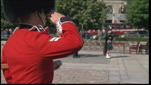 Duke and Duchess of Cambridge Royal Tour of Canada Day 1 CANADA Ottawa Soldiers in bearskin hats and red ceremonial costume marching along to War...