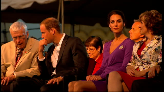 Duke and Duchess of Cambridge Royal Tour of Canada Day 1 Duke and Duchess attend evening concert Band on stage performing / Duke and Duchess clapping...