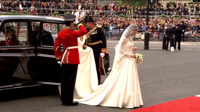 duke and duchess of cambridge royal tour of canada: day 1; lib england: london: westminster abbey: kate middleton out of car in wedding dress and... - wedding dress stock videos & royalty-free footage