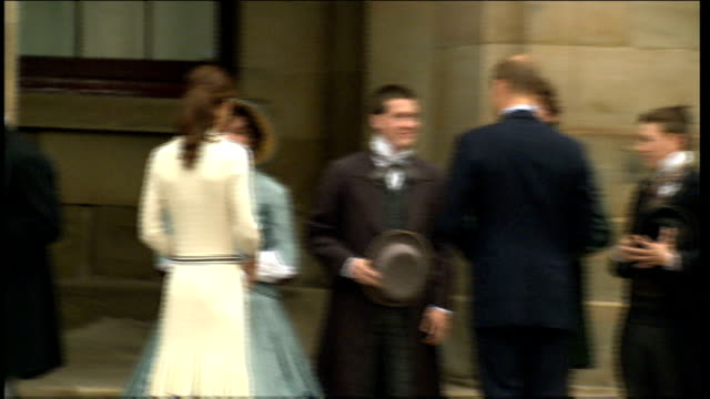 duke and duchess of cambridge royal tour of canada day 5 province house ext kate and william come out of province house and stand on the steps and... - day 5 stock videos & royalty-free footage