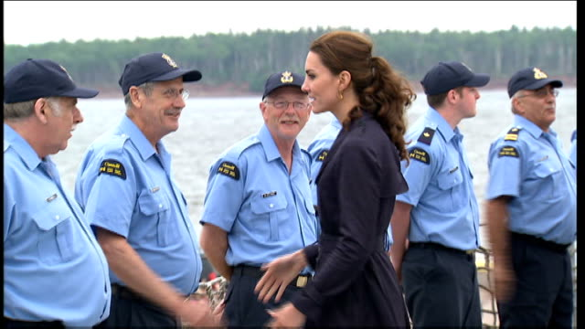 Duke and Duchess of Cambridge Royal Tour of Canada Day 5 William and Kate with coast guard personnel / Kate speaking with navy / Various of Catherine...