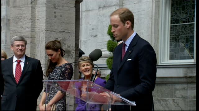Duke and Duchess of Cambridge Royal Tour of Canada Official welcome Harper speech SOT Duke of Cambridge speech SOT CUTAWAYs Kate watching / Kate...