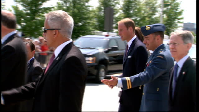 Duke and Duchess of Cambridge Royal Tour of Canada Veterans' reception EXT Catherine and William greeted by cheers as leaving building SOT /...