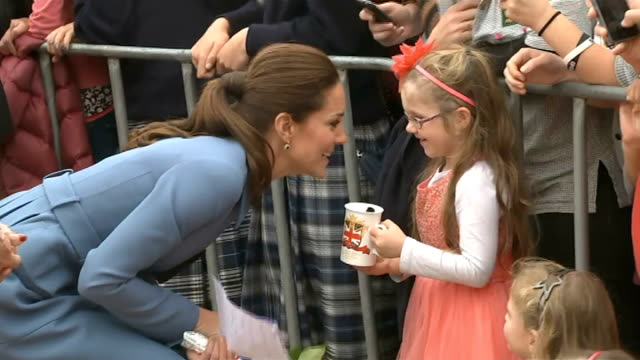 duke and duchess of cambridge royal visit; new zealand: blenheim: ext gvs catherine, duchess of cambridge wearing military blue coat by alexander... - royal blue stock videos & royalty-free footage