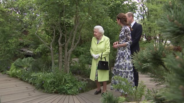 duke and duchess of cambridge showing the queen around catherine's back to nature garden at the chelsea flower show - festival dei fiori di chelsea video stock e b–roll