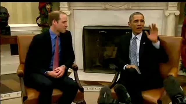 duke and duchess of cambridge three day visit william meets obama / makes speech usa washington white house oval office photography*** various shots... - 象牙点の映像素材/bロール