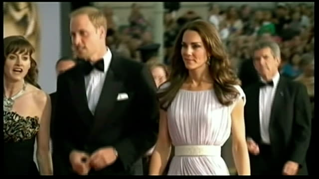 duke and duchess of cambridge three day visit: william meets obama / makes speech; lib los angeles: int william and kate along red carpet at bafta... - gala stock videos & royalty-free footage
