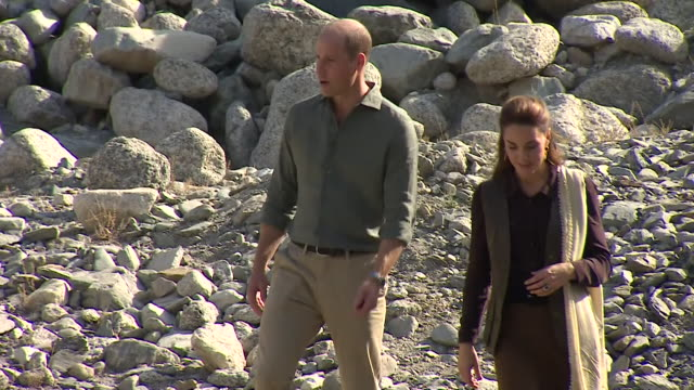 duke and duchess of cambridge visit a valley in chitral to see buildings damaged from flash flooding due to global warming, on their pakistan tour - pakistan stock videos & royalty-free footage