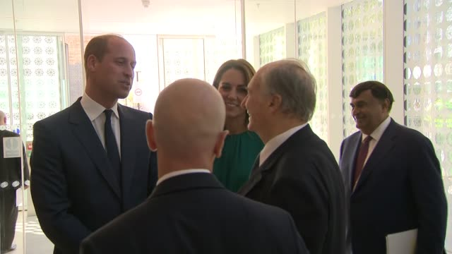 duke and duchess of cambridge visit aga khan centre england london kings cross aga khan centre ext **tabla music being played in background sot**... - green background stock videos & royalty-free footage