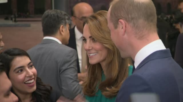 duke and duchess of cambridge visit aga khan centre england london kings cross aga khan centre int **tabla music being played in background sot**... - green background stock videos & royalty-free footage