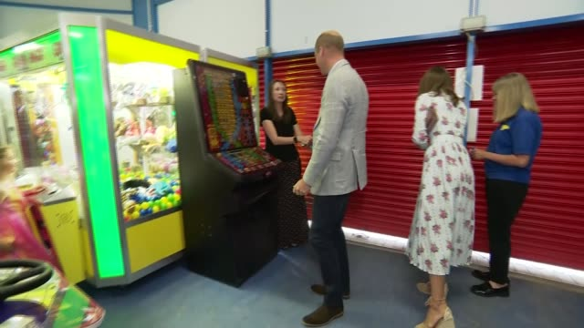 duke and duchess of cambridge visit barry island; wales: glamorgan: barry island: int prince william, duke of cambridge and catherine, duchess of... - other stock videos & royalty-free footage