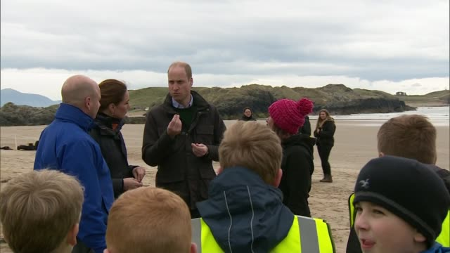 duke and duchess of cambridge visit beach in north wales; wales: porthaethwy: newborough beach: ext various of prince william, duke of cambridge,... - man made stock videos & royalty-free footage