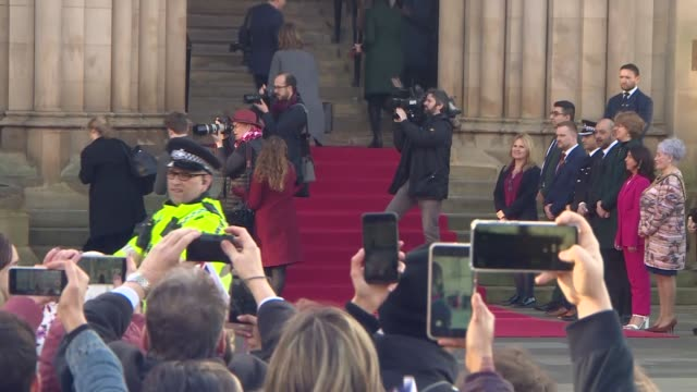 duke and duchess of cambridge visit bradford city hall england west yorkshire bradford centenary square city hall ext people gathering outside city... - black olive stock videos & royalty-free footage
