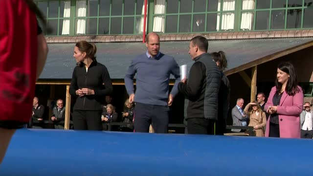 duke and duchess of cambridge visit city of derry rugby club; northern ireland: derry : various of the duke and duchess of cambridge watching sport... - shaky stock videos & royalty-free footage