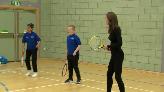 duke and duchess of cambridge visit coach core initiative in basildon; england: essex: basildon: gvs kate plays tennis with the children / gvs... - javelin stock videos & royalty-free footage