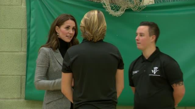 duke and duchess of cambridge visit coach core initiative in basildon; england: essex: basildon: gvs william and kate into sports hall / gvs of... - basildon stock-videos und b-roll-filmmaterial