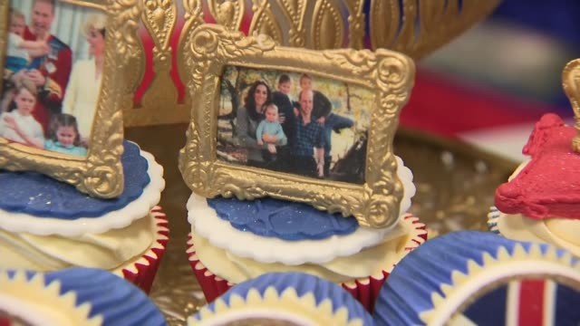 duke and duchess of cambridge visit community centre in bradford; england: west yorkshire: bradford: int gvs kate and william-themed cakes and... - petal stock videos & royalty-free footage