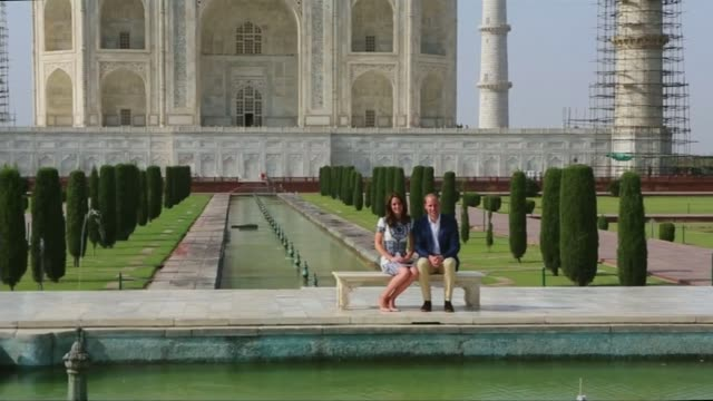Day six Taj Mahal visit INDIA Uttar Pradesh Agra Taj Mahal EXT Prince William Duke of Cambridge and Catherine Duchess of Cambridge photocall seated...