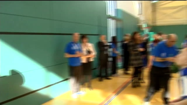 duke and duchess of cambridge visit donald dewar centre in glasgow scotland glasgow donald dewar leisure centre int catherine duchess of cambridge... - making a basket scoring stock videos and b-roll footage