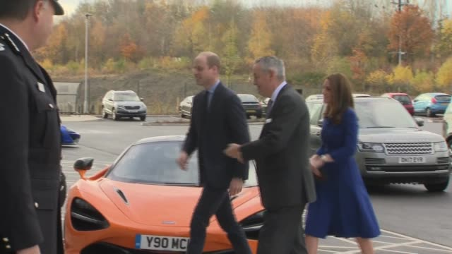 duke and duchess of cambridge visit mclaren automotive composites technology centre england south yorkshire rotherham ext prince william duke of... - rotherham stock videos & royalty-free footage